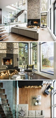 Inside, this contemporary home opens up to reveal a space surrounded by windows that fill the double-height area. The living area is sunken down slightly from the entrance of the home, and a fireplace with stone accent wall draws your eye to the height of the room.