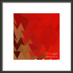 Coquelicot Red Abstract Low Polygon Background Framed Print By Aloysius Patrimonio