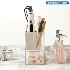 Sometimes, getting started is the hardest part of getting organized. That's why we created Starter Kits. For this kit, we've pulled together essentials from The Home Edit Vanity & Makeup Collection to get your hair tools and makeup in order. The Home Edit Space-Saver Style Station Starter Kit includes staples from our exclusive product line from The Home Edit: (1) T.H.E. Hair Tool Holder and (1) T.H.E. Small Deep Drawer. Hair Tool Organizer, Narrow Shelves, Makeup Order, The Home Edit, Space Saving Storage, Stackable Bins, Drawer Organisers, Shopping Day, Container Store