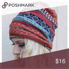 JUST IN: Boho Stitch Pattern Beanie Multicolored slouchy beanie with bohemian stitch print pattern.  100% cotton. Has opening at top for ponytail. This opening cannot be closed but will just fold over if no ponytail, so you can't see it. Beanie has double layer of fabric and soft to the touch. Brand new condition. One size. Accessories Hats