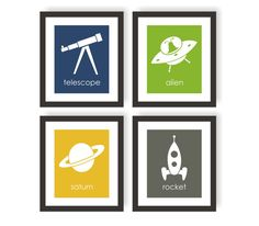 Science Art Outer space Decor Rocket Ship Science by twowhiteowls