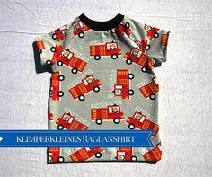 Raglanshirt von Klimperklein mit Feuerwehr, T-Shirt nähen | Zum Nähen in den Keller