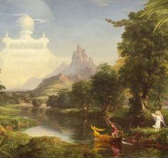 In The Voyage of Life, the 2nd of a 4 part series of paintings, artist Thomas Cole portrays man in his youth. The Angel watches and waves as the youth takes control of the tiller of life. In the distance, a castle hovers in the sky, a white and ethereal destination that represents his ambitions and dreams. To the youth, the calm river seems to lead straight to the castle, but will ultimately become rough, choppy, and full of rocks.