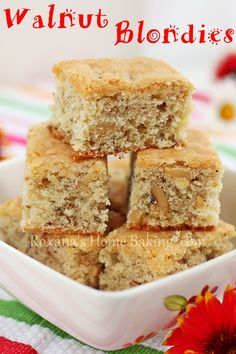 Walnut Blondies - light and spongy, with a cake like crumb and a chewy bite.