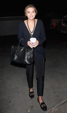 fb5668a3cd20 Get Elizabeth Olsen s Effortless Navy And Black Look (Olsens Anonymous) -  Celebrity Street Style