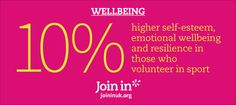 higher self-esteem, emotional wellbeing and resilience in those who volunteer in sport. Running Club, Self Promotion, Runners World, Volunteers, Self Esteem, Are You Happy, Branding, Sport, Design