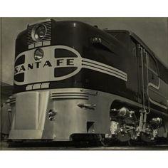 Silver gel print of Sante Fe train, ca. 1940s