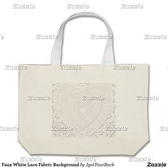 Faux White Lace Fabric Background Large Tote Bag - Lacey heart pattern image, looks like lace but is an image on the tote bag. #Gravityx9