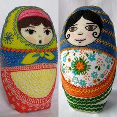 Adelina y Nina. Embroidered matryoshka doll.