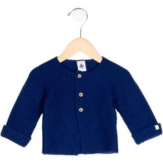 Pre-owned Petit Bateau Boys' Wool-Blend Cardigan (175 BRL) ❤ liked on Polyvore featuring blue