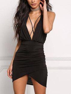 44e7e608fd4 Sexy Pink Halter Backless Asymmetrical Hem Bodycon Dress - US 15.95 -YOINS  Evening Dresses