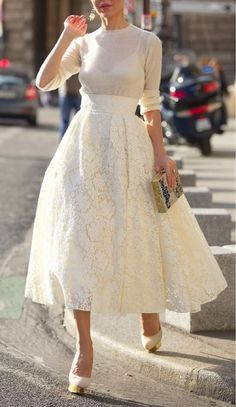 Love the high waist, the color and the pattern. Midi/tea-length skirts aren't the best on me so I'd prefer the skirt knee length.