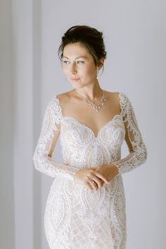 Gorgeous bride wearing a chic fitted handmade bridal dress with sparkling lace Island Weddings, Bridal Dresses, Bride, Chic, Lace, Handmade, How To Wear, Fashion, Bride Dresses