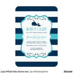 3.5x5 Whale baby shower invitations boys nautical