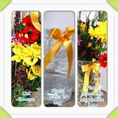 Here's a quick, easy, portable way to present flowers using our PVC clear handle bag. Place water in the bottom of a clear PVC. Voss Bottle, Water Bottle, May Flowers, April Showers, Bring It On, Bags, Handbags, May Birth Flowers, Dime Bags