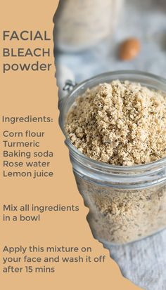 Rub this powder on your face and wash it off after 15 minutes, you will be amazed with results Best Diy Face Mask, Lighten Skin, Fresh Lemon Juice, Rose Water, Turmeric, Baking Soda, Oatmeal, Facial, Powder