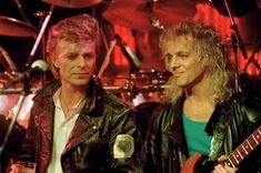In 1987, Bowie embarked on his Glass Spider tour, with Peter Frampton playing guitar in the live lineup. Here, the two rock legends are pictured at a March 18, 1987 news conference in New York where Bowie announced his North American tour.
