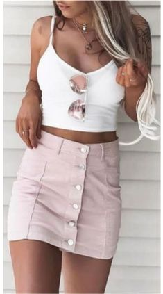 Women's Summer Fashion Inspo Outfits are looking hot, pink and cute for a put together chic summer outfit. #summeroutfits #summeroutfitcasual #summeroutfitcute #summeroutfitshopthislook #summeroutfitshopcute #summeroutfit2020 #summeroutfitchic #womensfashion #cutesummeroutfits #pink Trendy Summer Outfits, Summer Dress Outfits, Crop Top Outfits, Trendy Dresses, Outfits For Teens, Spring Outfits, Nice Dresses, Casual Dresses, Cute Outfits