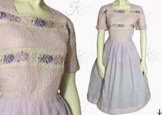 1950s Dress Pink-Purple Dress by KayDoveVintage
