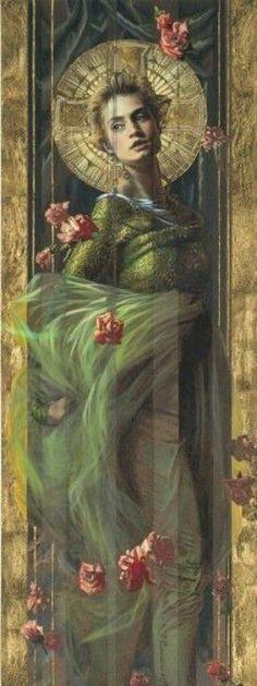 Donna ornata di ninfee