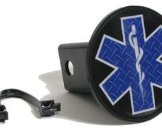 EMS Star of Life Blue Diamond Plate Reflective Hitch Cover Product Code: HCREF002