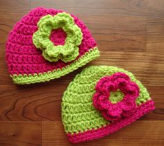 Crocheted Baby Twin Girls Hat Set with Flower, Lime Green & Raspberry Pink Hat Set with Flower, Shower Gift, Sizes Newborn to 24 Months on Etsy, $29.00