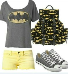 Batman! Adorable sumer outfit. Shorts and tee + book bag