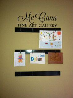 Diy way to hang kids art work or photos do it yourself pinterest fun way to display my kids art solutioingenieria Choice Image