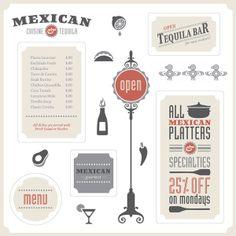 Vector package for Mexican restaurants. #restaurantbranding #restaurantgraphics #typography