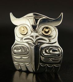 Sterling Silver and 14k Gold Native Owl Pendant by artfromabove