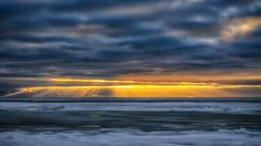 Sunrays at sunset in Varbla beach. Estonia January 2016.
