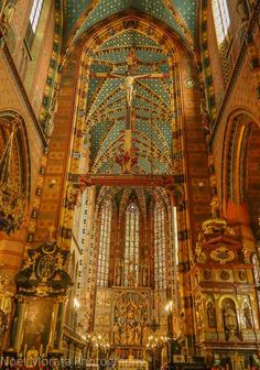 Dazzling painted interior details of St, Mary's Basilica.  A first impression tour of Krakow, Poland