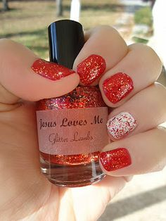 """""""Jesus Loves Me"""" red glitter nail polish.***Supplies Limited***  #Nails #Red #Glitter #Indie #Custom #Franken"""