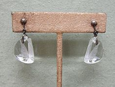 1950's Japan Silver and Cut Crystal Butterfly Earrings by COBAYLEY,