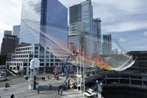 """Janet Echelman's """"Skies Painted with Unnumbered Sparks"""" is suspended 700 feet complimenting the beauty of the Vancouver British Columbia waterfront Photo credit Ema Peter - using custom plugin for Maya!"""