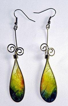 Translucent Rice Paper Earrings as droplets
