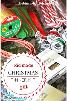 Put together a Christmas tinker kit for kids. A tinker kit or loose parts box is a great STEAM or STEM idea for kids. A tinker kit encourages imagination, exploration, creativity, and problem solving.