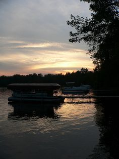 Pontoon boat in the Northwoods sunset...takin it slow.
