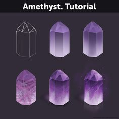 Tutorial by Anastasia-berry on DeviantArt Amethyst. Tutorial by Anastasia-berry Digital Painting Tutorials, Digital Art Tutorial, Painting Tips, Art Tutorials, Matte Painting, Sketch Painting, Drawing Techniques, Drawing Tips, Gem Drawing