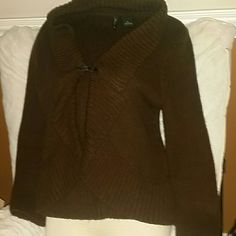 NEW DIRECTIONS PETITE SZ L Super cool design.  Not your everyday mundane sweater.  Sz L, brown, front leather look closure shrug  sweater. Thanks for visiting my closet! Come again soon! Make me an offer! I love offers! new directions Sweaters Shrugs & Ponchos
