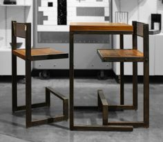 custom steel and walnut set of 2 bar stools and cafe style table designed and made by Rick & Tracey Bewley, owners of Art Fusion Studio.