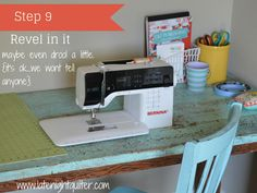 Wonderful Snap Shots sewing table drop in Tips DIY Drop-In Sewing Table Hack- Yes, you can! Old Sewing Tables, Diy Sewing Table, Sewing Machine Tables, Sewing Room Decor, Sewing Room Organization, My Sewing Room, Sewing Rooms, Sewing Spaces, Sewing Machines