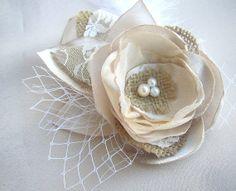 Rustic Hair Flower Clip - Satin Burlap Hairpiece  - Bridal Fascinator - Wedding Hairpiece on Etsy, $25.00