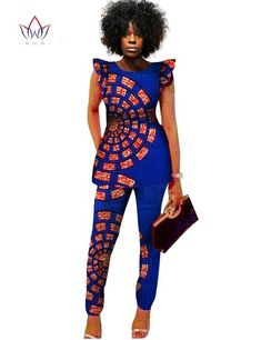 2 Piece Women African Print Dashiki Top and Pants Sets Plus Size African Print Dresses, African Fashion Dresses, African Attire, African Wear, African Women, African Dress, African Style, African Print Pants, African Outfits