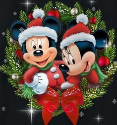 Minnie Mouse Christmas, Mickey Mouse And Friends, Mickey Minnie Mouse, Christmas Drawing, Christmas Art, Christmas Greetings, Christmas Ornaments, Christmas Scenery, Christmas Pictures