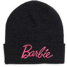 FOREVER 21 Fold-Over Barbie Beanie ($7.90) ❤ liked on Polyvore featuring accessories, hats, black, beanie cap, forever 21 beanie, embroidered beanie, black beanie and forever 21 hats