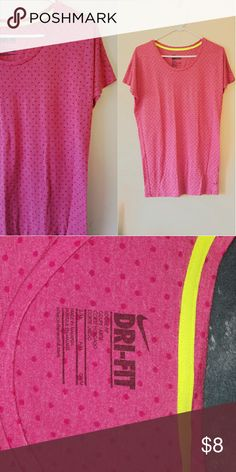 NWOT Nike Pink Dri-fit Loose Fit Never worn brand new Pink Nike Dri-fit tshirt!  It has pink dots and neon yellow lining inside as shown in the photos!  Make an offer! Feel free to lowball me! :)  I do trades and bundles! :) Nike Tops Tees - Short Sleeve