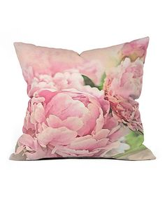 Look what I found on #zulily! Pink Peonies Throw Pillow by DENY Designs #zulilyfinds