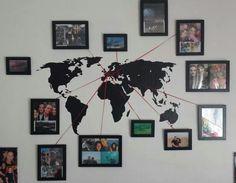Eine tolle Idee seine Reise-Erinnerung in der Wohnung an die Wand zu bringen…