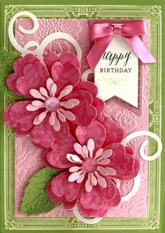 handmade birthday card ... gorgeous layered die cut flowers in pink ... embossing folder flower texture background ... delightful card from Anna Griffin...